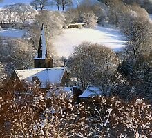 A village church in the snow by Judi Lion