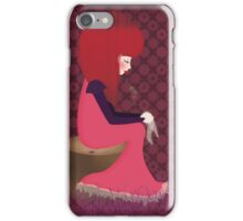 Sad girl sitting on a tree trunk iPhone Case/Skin