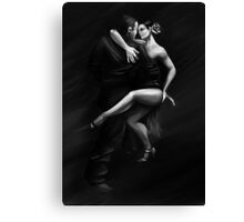 Man and woman dancing tango in passion pose Canvas Print