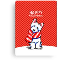 Westie Plaid Scarf Happy Howl-i-days Canvas Print