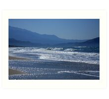 Blue hills and blue water Art Print