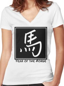 Year of The Horse Women's Fitted V-Neck T-Shirt