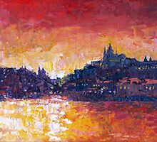 Prague Red Panorama by Yuriy Shevchuk
