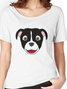 Black Pitbull Face with Blaze Women's Relaxed Fit T-Shirt
