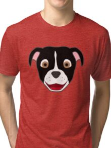Black Pitbull Face with Blaze Tri-blend T-Shirt
