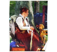 Woman Spinning Yarn at Flea Market Poster