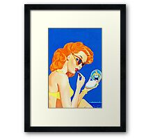 Vintage lady and mirrow Framed Print