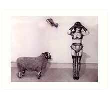 Figure with sheep and pigeon. Art Print