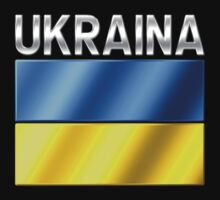 Ukraina - Ukrainian Flag & Text - Metallic by graphix