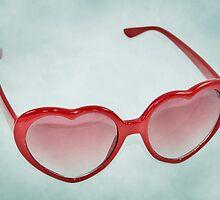 Fabulous Heart Sunglasses Dusty Blue Background by CptnLucky