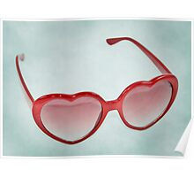 Fabulous Heart Sunglasses Dusty Blue Background Poster