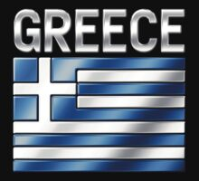 Greece - Greek Flag & Text - Metallic by graphix