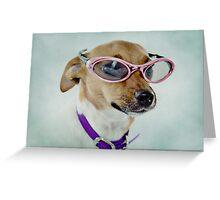Fabulous Sunglasses Dog on Dusty Blue Background Greeting Card