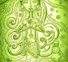 Green Yoga Gypsy – Whimsical Folk Art Girl in Namaste Pose  by erica lubee  ~ SkyBlueWithDaisies