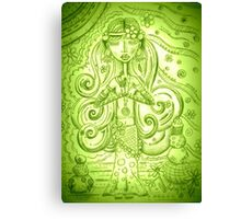 Green Yoga Gypsy – Whimsical Folk Art Girl in Namaste Pose  Canvas Print