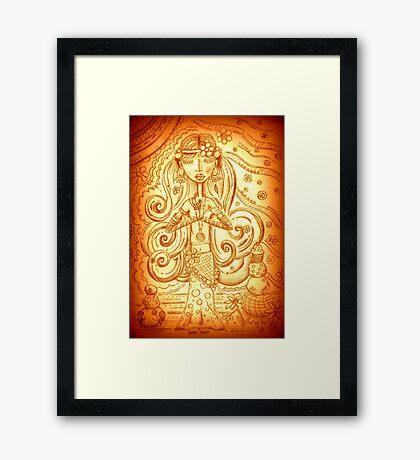 Orange Yoga Gypsy – Whimsical Folk Art Girl in Namaste Pose  Framed Print
