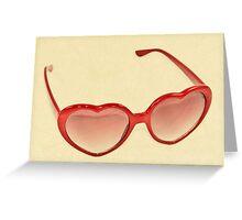 Fabulous Heart Sunglasses Vintage Cream Greeting Card
