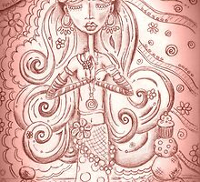Pale Pink Yoga Gypsy – Whimsical Folk Art Girl in Namaste Pose  by erica lubee  ~ SkyBlueWithDaisies