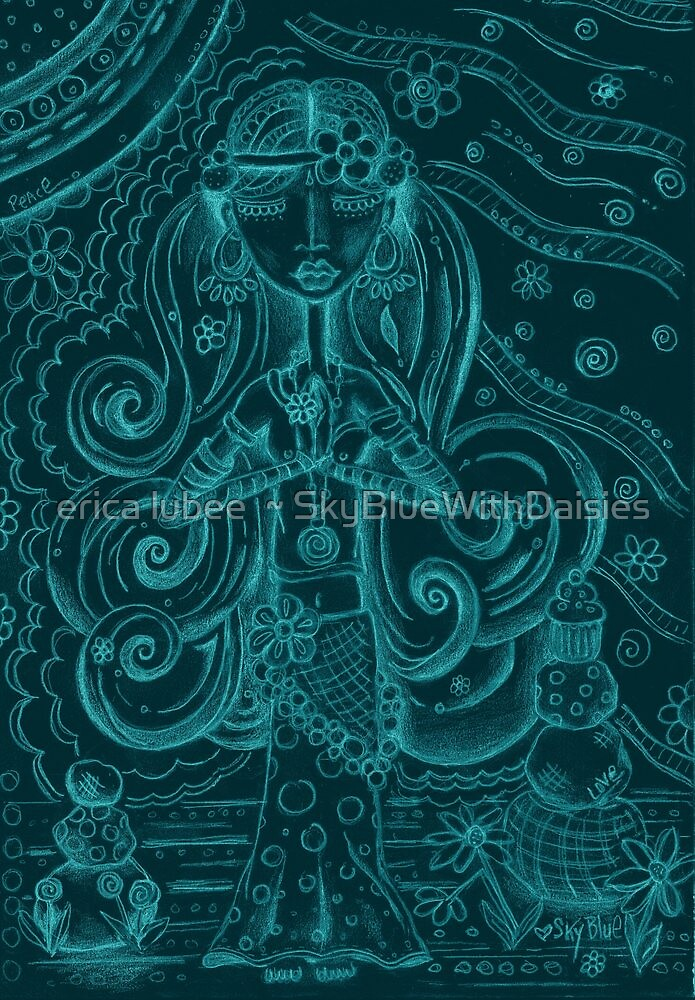 Blue Yoga Gypsy – Whimsical Folk Art Girl in Namaste Pose by erica lubee  ~ SkyBlueWithDaisies