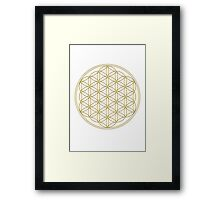 Flower of life - Gold, healing & energizing Framed Print