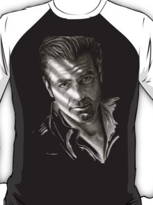 G. Clooney in black and white T-Shirt
