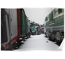 Railway station in winter Poster