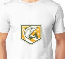 Trout Jumping Retro Shield Unisex T-Shirt