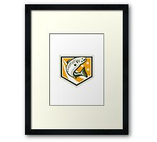 Trout Jumping Retro Shield Framed Print