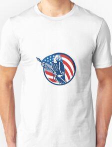 Wild Turkey Perching American Flag T-Shirt