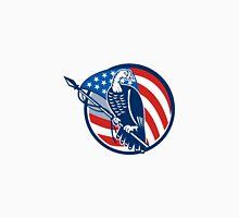 Wild Turkey Perching American Flag Unisex T-Shirt