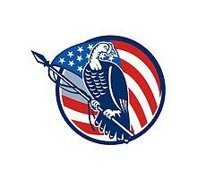 Wild Turkey Perching American Flag by patrimonio