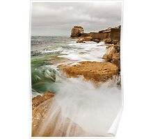 Waves crashing over Portland Bill Poster