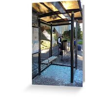 Suburban Bus Stop II Greeting Card