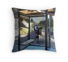 Suburban Bus Stop II Throw Pillow