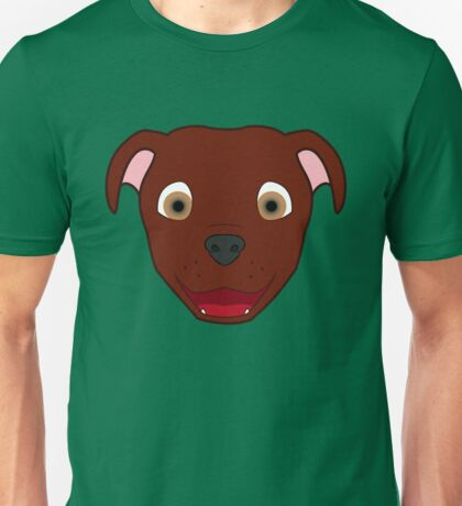 Red Pitbull Face Unisex T-Shirt
