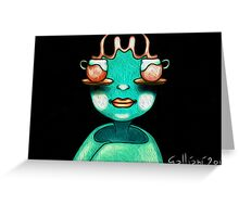 One Girl Two Cups Greeting Card