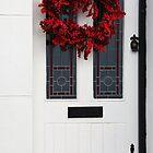 Red Wreath, White Door by Heidi Stewart