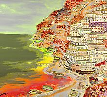 A coastal view of Positano by Loredana Messina
