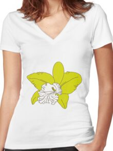 green orchids on brown background Women's Fitted V-Neck T-Shirt