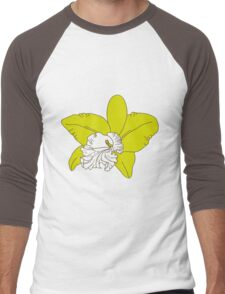 green orchids on brown background Men's Baseball ¾ T-Shirt