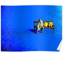 Lonely on a park bench! Poster