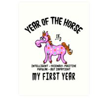 Born Year of The Horse Baby Art Print
