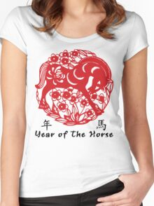 Year of The Horse Papercut Women's Fitted Scoop T-Shirt