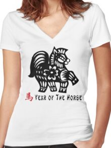 Year of The Horse Papercut Women's Fitted V-Neck T-Shirt