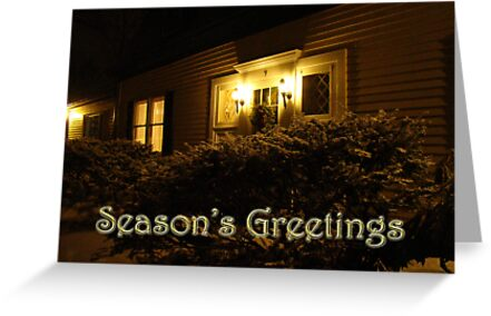 Season's Greetings Card - Home In Snow by MotherNature