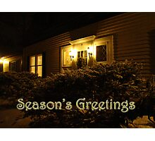 Season's Greetings Card - Home In Snow Photographic Print