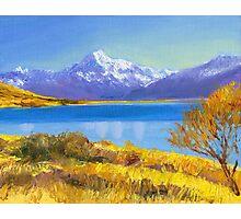 Mount Cook (Aoraki) and Lake Pukaki in New Zealand Photographic Print