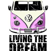 VW Camper Living The Dream Pink by splashgti