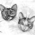 A pencil drawing of Lillan and Grenadine by Dennis Melling