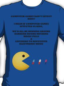 PAC MAN COMPUTER GAMES ELECTRONIC EATING PILLS BLACK T-Shirt